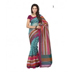 Turquoise Printed Supernet Saree