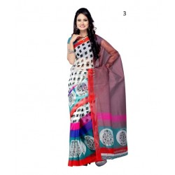 White Checkered Supernet Saree