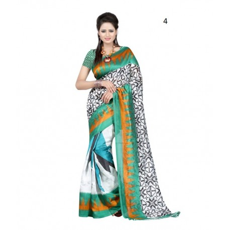 White Printed Supernet Saree