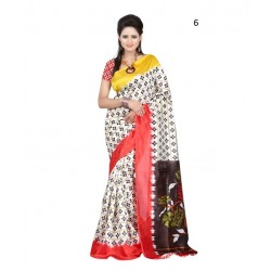 White Striped Supernet Saree