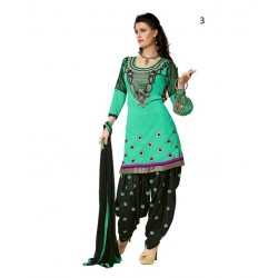 Party Turquoise Solid Chanderi Semi-Stitched Salwar Kameez