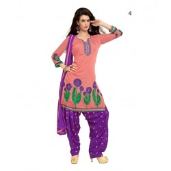 Party Light pink Solid Chanderi Semi-Stitched Salwar Kameez