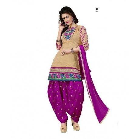 Party Brown Solid Chanderi Semi-Stitched Salwar Kameez