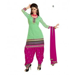 Party Light Green Solid Chanderi Semi-Stitched Salwar Kameez