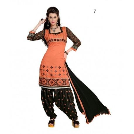 Party Orange Solid Chanderi Semi-Stitched Salwar Kameez