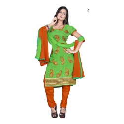 Solid Green Chanderi Dressmaterial