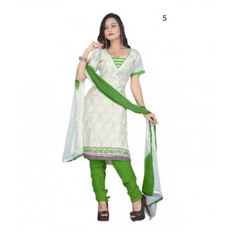 Solid White Chanderi Dressmaterial