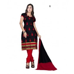 Solid Black Chanderi Dressmaterial