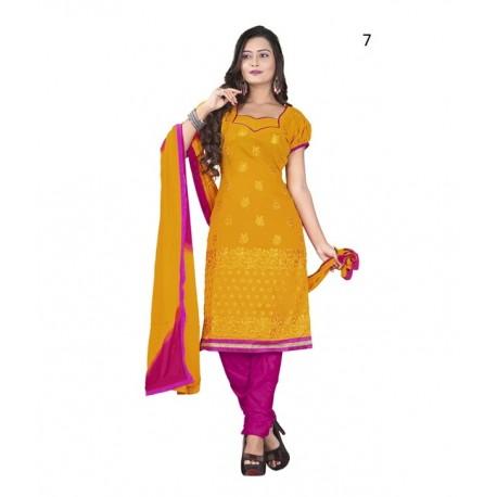Solid Orange Chanderi Dressmaterial