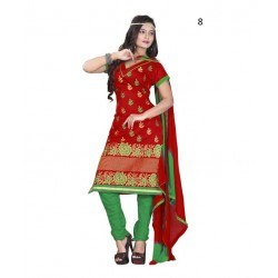 Solid Red Chanderi Dressmaterial