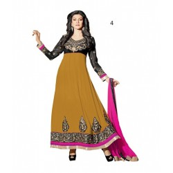 Brown Floral Print Pure Georgette Semi-Stitched Salwar Kameez