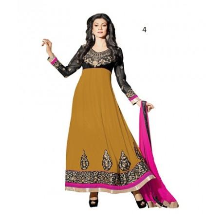 Brown Floral Print Pure Georgette Semi-Stitched Salwar Kameez
