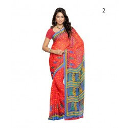 Red Geometric Print Chiffon Saree