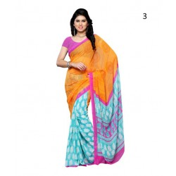 Yellow Printed Chiffon Saree