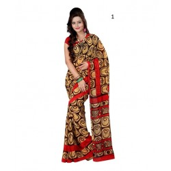 Brown Printed Georgette Saree