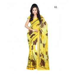 Yellow Floral Print Georgette Saree